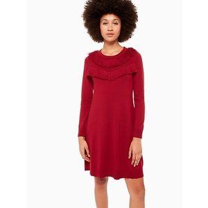 Kate Spade Fringe Wool Sweater Dress Red